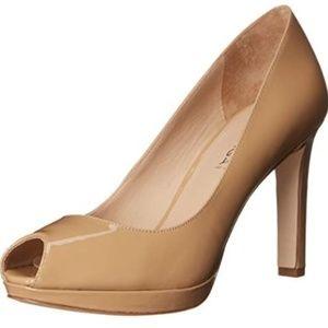 Via Spiga Brandy Peep-Toe Patent Leather Nude Heel